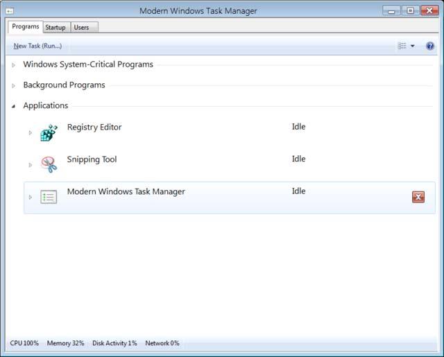 Administrador de tareas en Windows 8